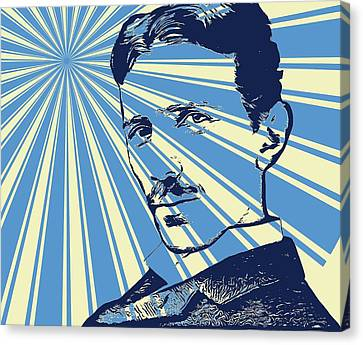 Lightning D Canvas Print - Tesla Pop Art Poster by Dan Sproul