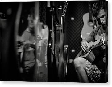 Testing Guitars Canvas Print