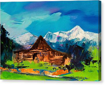 Mountain Cabin Canvas Print - Teton Barn  by Elise Palmigiani