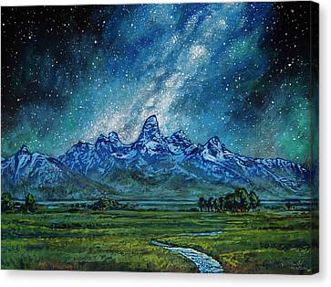 Canvas Print featuring the painting Teton Milky Way by Aaron Spong