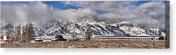 Canvas Print featuring the photograph Teton Mormon Homestead Panorama by Adam Jewell