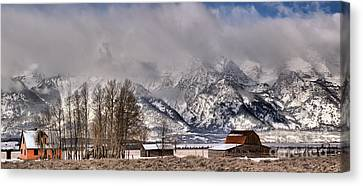 Canvas Print featuring the photograph Teton Mormon Row Panorama by Adam Jewell