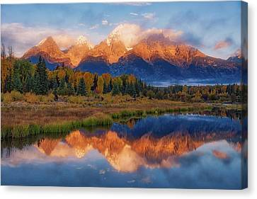 Canvas Print featuring the photograph Teton Morning by Darren White
