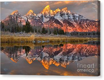 Teton Mountains Sunrise Rainbow Canvas Print by Adam Jewell