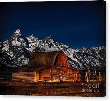Teton Mountains With Barn Canvas Print