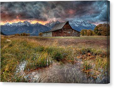 Teton Canvas Print - Teton Nightfire At The Ta Moulton Barn by Ryan Smith