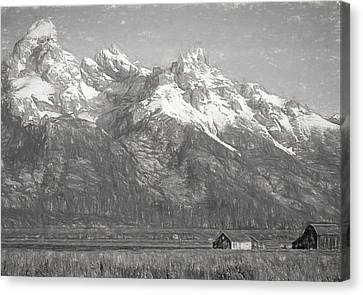Teton Range Charcoal Sketch Canvas Print