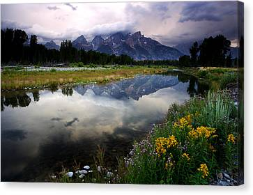 Teton Reflections Canvas Print by Eric Foltz