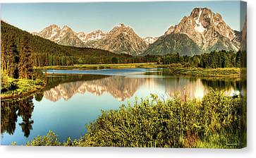 Teton Reflections Canvas Print by Rebecca Hiatt