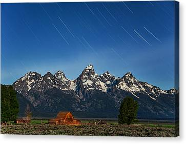Teton Star Trails Canvas Print by Darren  White