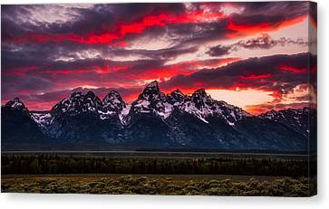 Teton Sunset Canvas Print by Darren White