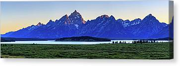 Canvas Print featuring the photograph Teton Sunset by David Chandler