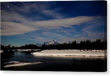 Tetons At Moonlight Canvas Print