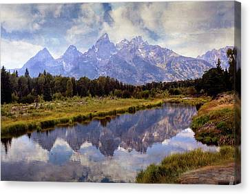 Tetons At The Landing 1 Canvas Print by Marty Koch