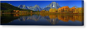 Tetons From Oxbow Bend Canvas Print by Raymond Salani III
