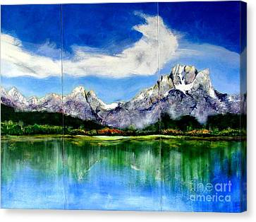 Tetons Jackson Hole Impression Tryptich Canvas Print