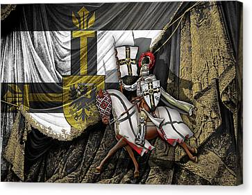 Jerusalem Canvas Print - Teutonic Knight Rider On Horseback In Front Of The Teutonic Flag. by Serge Averbukh