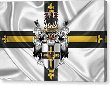 Jerusalem Canvas Print - Teutonic Order - Coat Of Arms Over Flag by Serge Averbukh