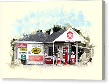 Texaco Gas Station Canvas Print by Elaine Plesser