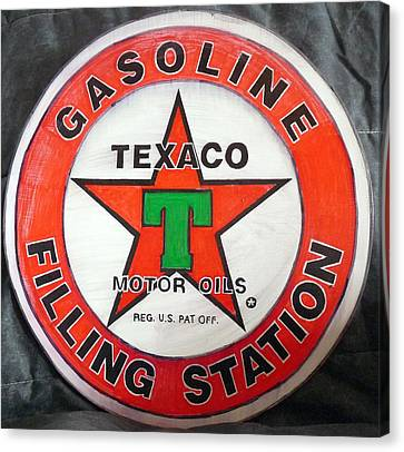 Canvas Print featuring the painting Texaco Sign by Richard Le Page