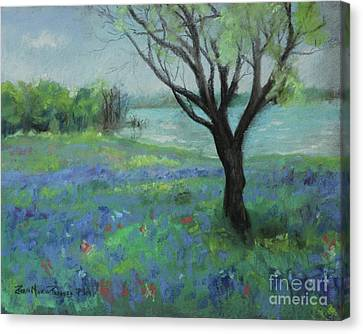 Canvas Print featuring the painting Texas Bluebonnet Trail by Robin Maria Pedrero