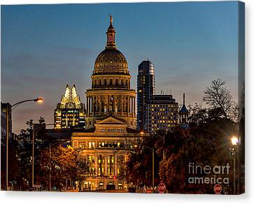 Texas Capital At Twilight Canvas Print by Tod and Cynthia Grubbs