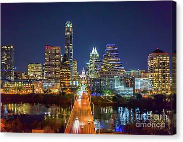 Texas Capital Skyline After Dark Canvas Print by Tod and Cynthia Grubbs