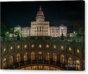 Texas Capitol Rotundra-night-pano Canvas Print by Tod and Cynthia Grubbs