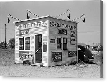Texas Cattle-brand Burger Stand  1939 Canvas Print by Daniel Hagerman