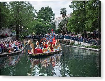 Texas Cavaliers River Parade On The San Antonio River Canvas Print by Carol M Highsmith