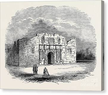Texas  Church Of Alamo, San Antonio De Bexar Canvas Print by American School