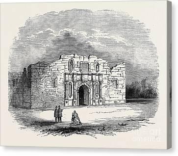Texas  Church Of Alamo, San Antonio De Bexar Canvas Print by American School