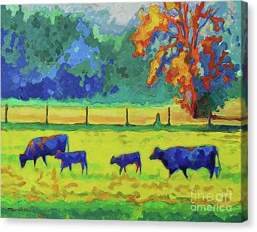 Texas Cows And Calves At Sunset Painting T Bertram Poole Canvas Print