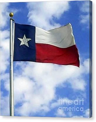 Texas Flag In A Texas Sky Canvas Print