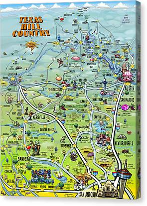 Texas Hill Country Cartoon Map Canvas Print by Kevin Middleton