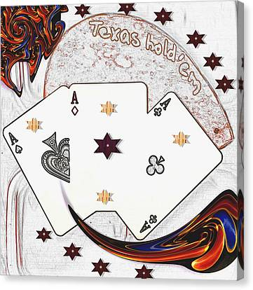 Texas Hold Em Poker Canvas Print by Pepita Selles