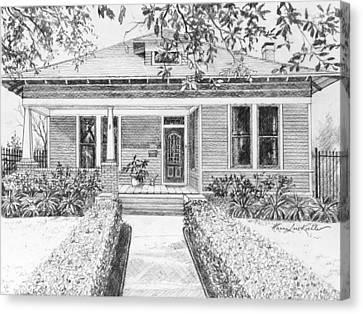 Texas Home Pencil Portrait  Canvas Print by Hanne Lore Koehler