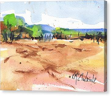 Texas Landscape In Watercolor Painting By Kmcelwaine Canvas Print by Kathleen McElwaine