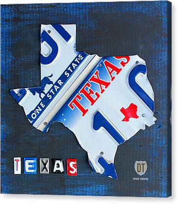Texas License Plate Map Canvas Print by Design Turnpike