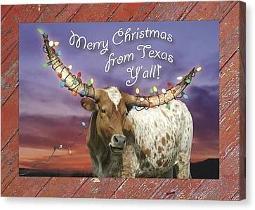 Texas Longhorn Christmas Card Canvas Print by Robert Anschutz