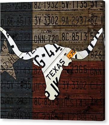 #texas #longhorn #recycled #vintage Canvas Print by Design Turnpike