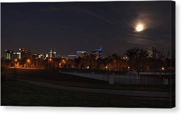 Canvas Print featuring the photograph Texas Medical Center Moonset by Joshua House