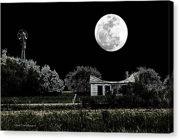 Canvas Print featuring the photograph Texas Moon by Travis Burgess