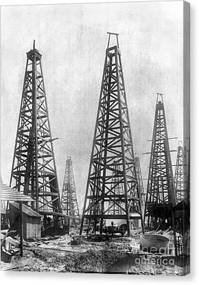 Texas: Oil Derricks, C1901 Canvas Print