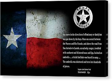 Texas Rangers Quote On Effeminacy And Dandyism  1890 Canvas Print by Daniel Hagerman