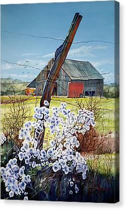 Texas Red Horse Trailer Canvas Print