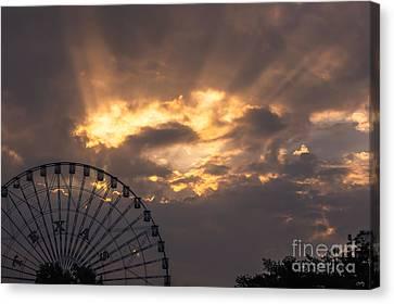 Texas Star Ferris Wheel And Sun Rays Canvas Print