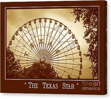 Texas Star In Gold Canvas Print