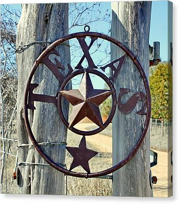 Texas Star Rustic Iron Sign Canvas Print