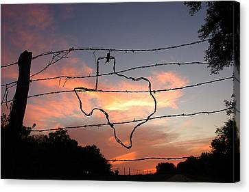 Barbed Wire Canvas Print - Texas Sunset by Robert Anschutz